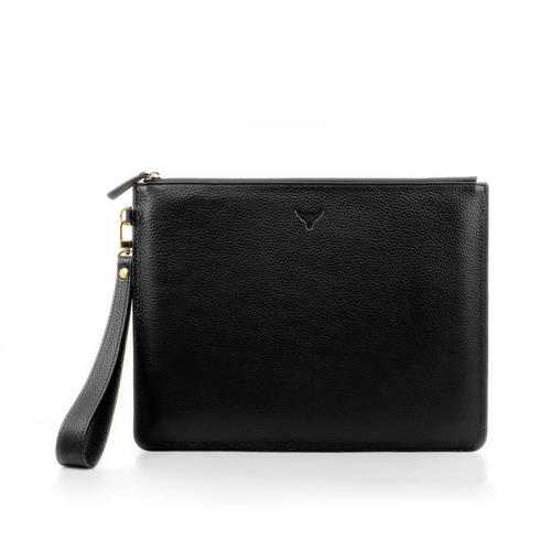 Leather Clutch - Noir -  270 Mm X 200 Mm - Large Main Zip Compartment with Smartphone Pocket