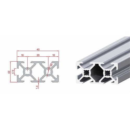 20x40 6-slot Aluminium Sigma Profile