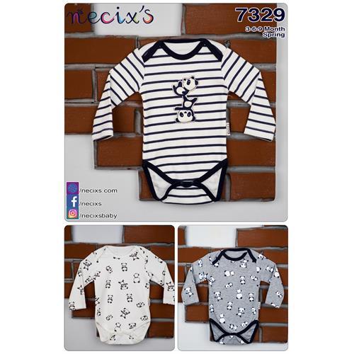 Striped Pattern Panda 3 Pcs Body Suit