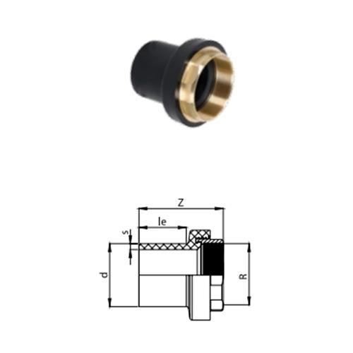 Transition Adaptor PE Brass (Ms58) / Female Thread Pe 100 Sdr11