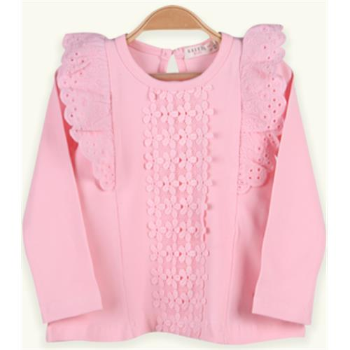 Girls Tops Long Sleeve Flowered, Patterned, Laced, Stony T-Shirt 3-8 Years, %90 Cotton %10 LYC