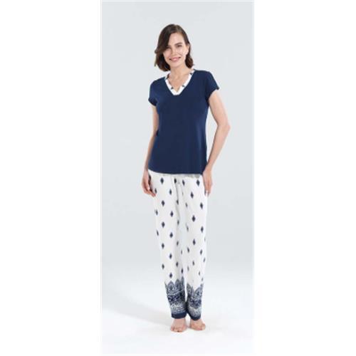 Navy Blue Women Long Pajamas Set