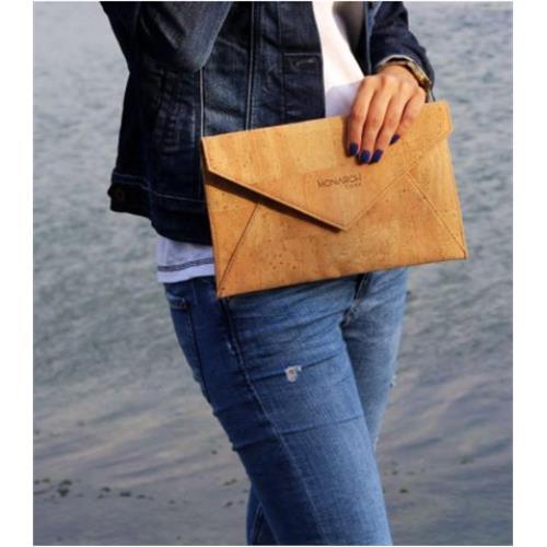 Women Zen Clutch – Natural HandBag - %100 Natural Cork Leather